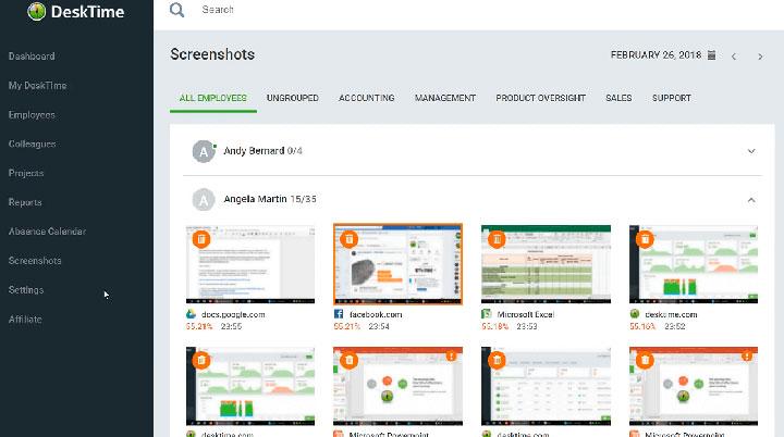 Capturas de pantalla para control de personal